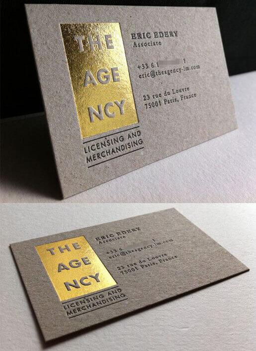biglietti da visita lamina a caldo argento oro